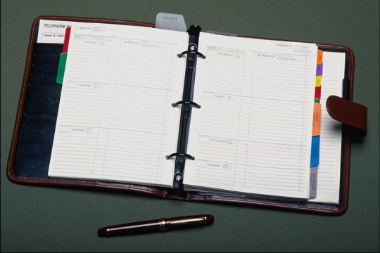 a three-ringed binder planner